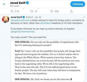 درخواست التماس گونه جواد ظریف برای مذاکره با آمریکا مصاحبه با اشپیگل