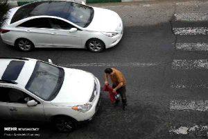 پوشاندن پلاک ماشین توسط یک مرد خلافکار